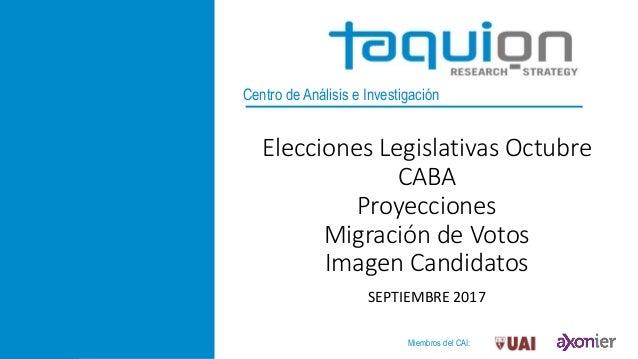 Centro de Análisis e Investigación Elecciones Legislativas Octubre CABA Proyecciones Migración de Votos Imagen Candidatos ...