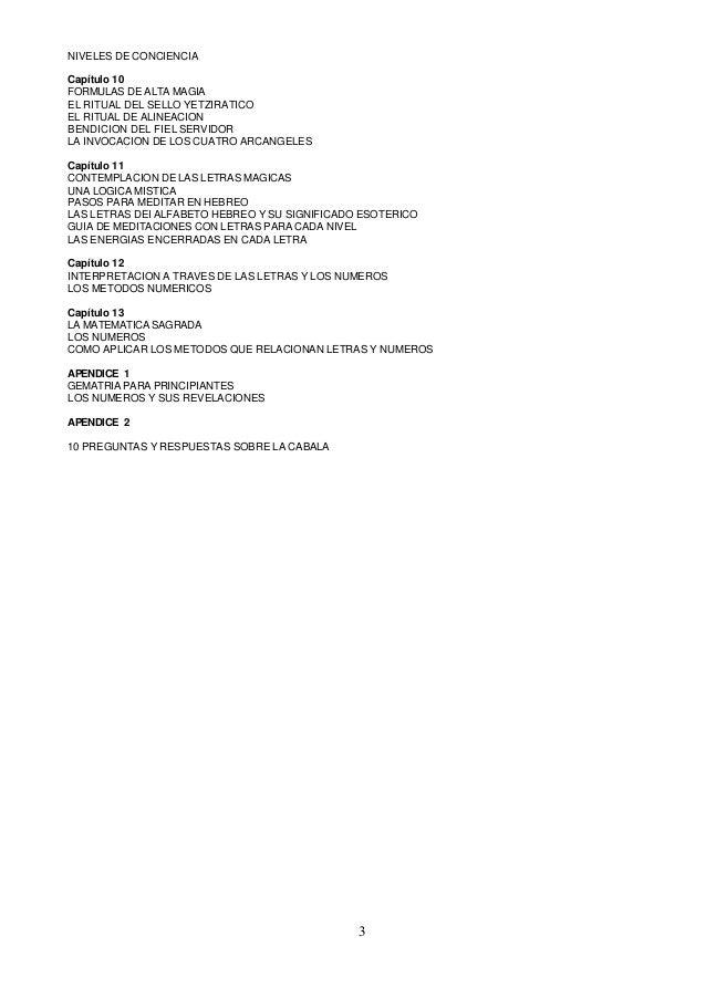 NIVELES DE CONCIENCIACapítulo 10FORMULAS DE ALTA MAGIAEL RITUAL DEL SELLO YETZIRATICOEL RITUAL DE ALINEACIONBENDICION DEL ...