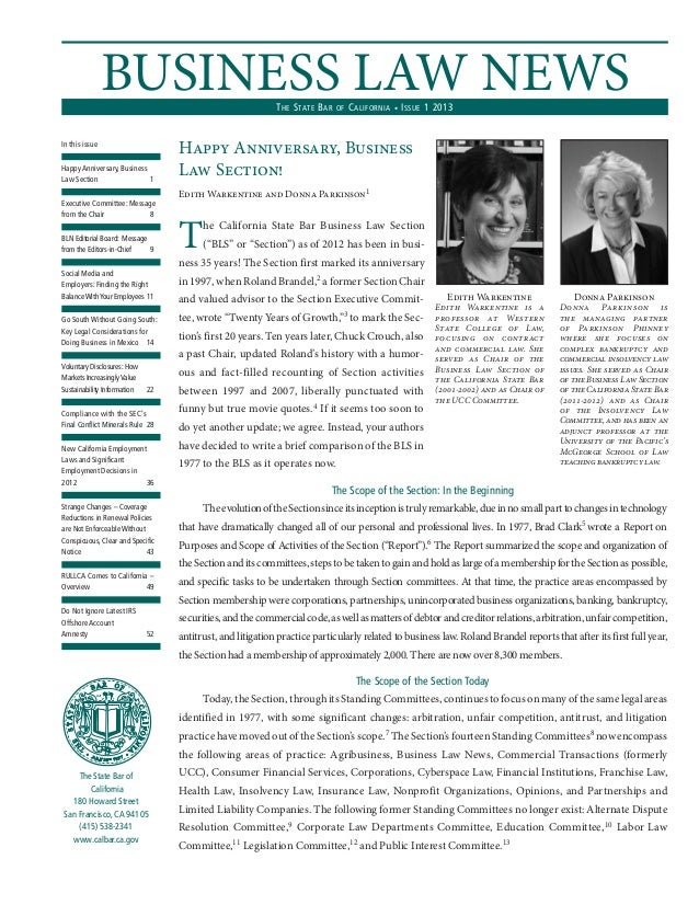 BUSINESS LAW NEWS                          T HE S TATE B AR   OF   C ALIFORNIA • I SSUE 1 2013In this issue               ...