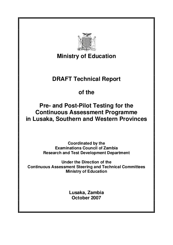 Ministry of Education           DRAFT Technical Report                       of the     Pre- and Post-Pilot Testing for th...