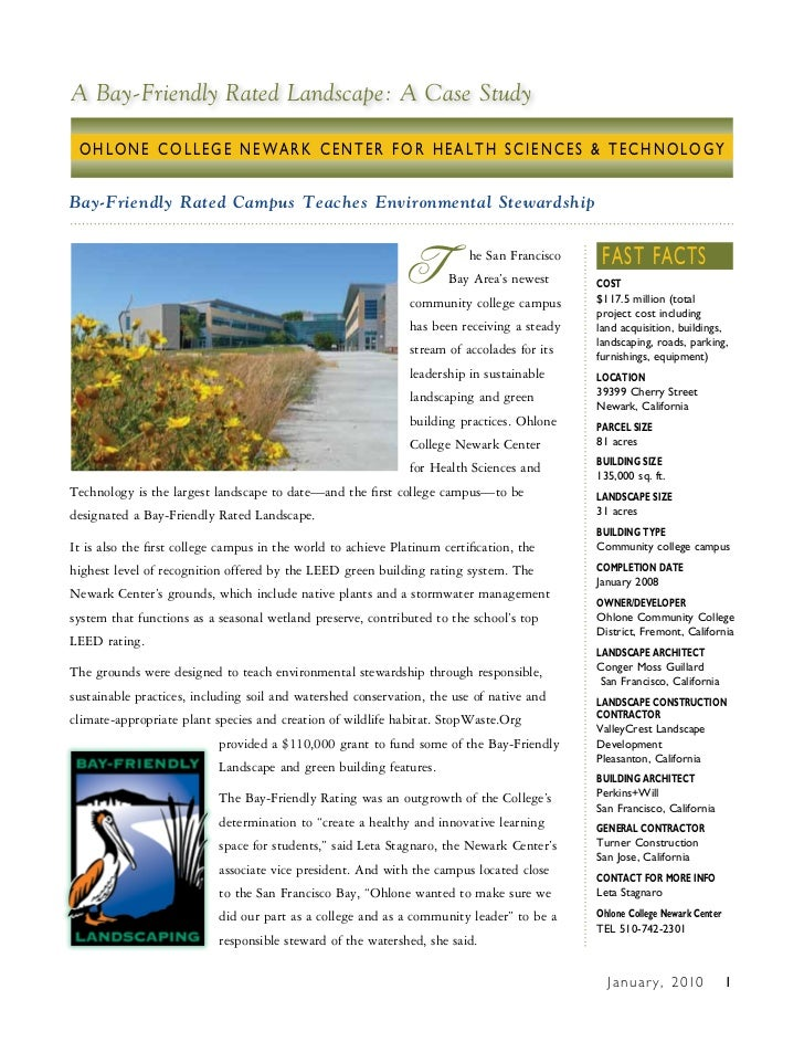 A Bay-Friendly Rated Landscape: A Case Study OHLONE COLLEGE NEWARK CENTER FOR HEALTH SCIENCES & TECHNOLOGYBay-Friendly Rat...
