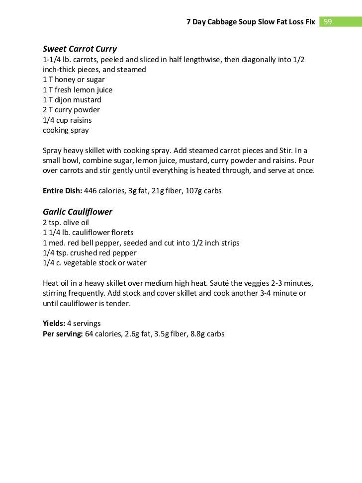Fat burning cabbage soup diet recipes