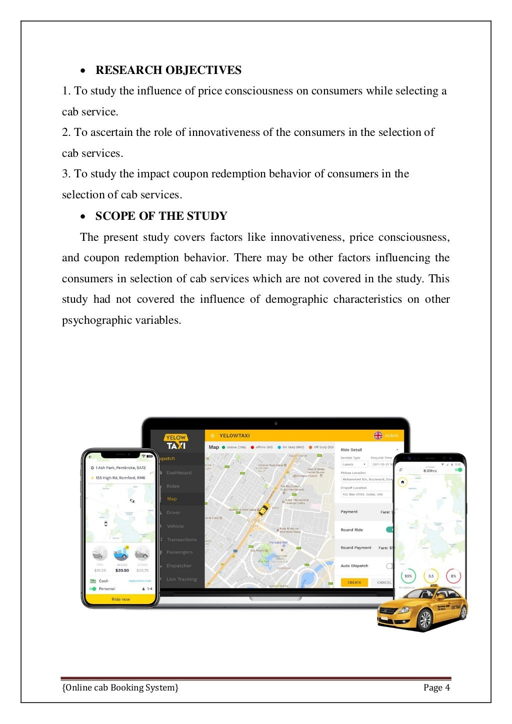 Online Cab Booking System Final Report page 11