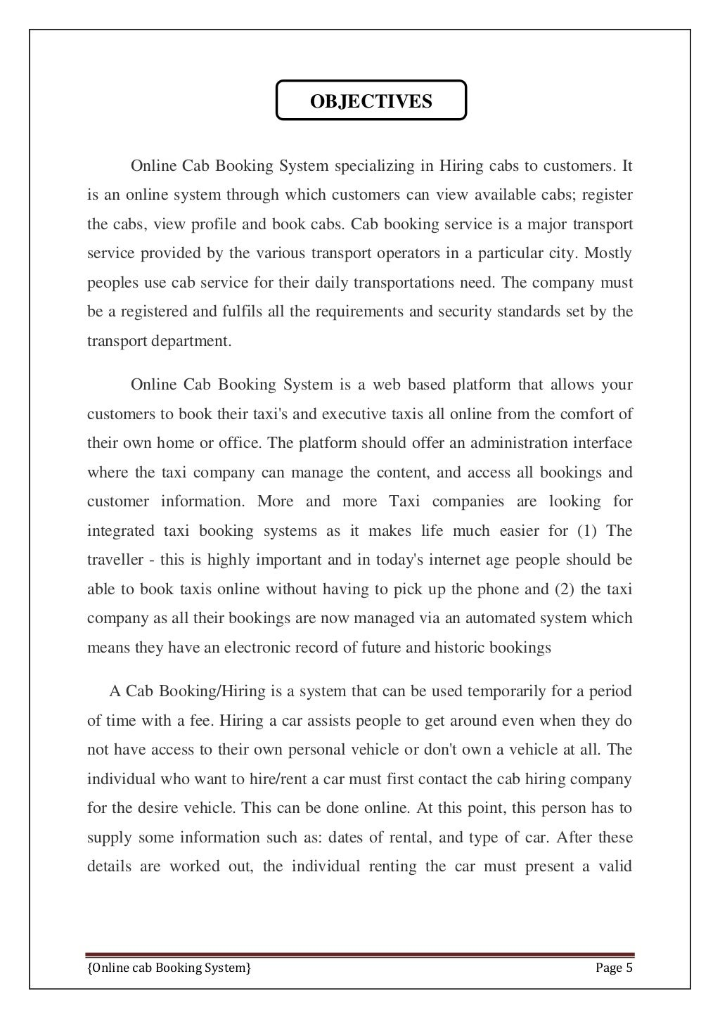 Online Cab Booking System Final Report page 12