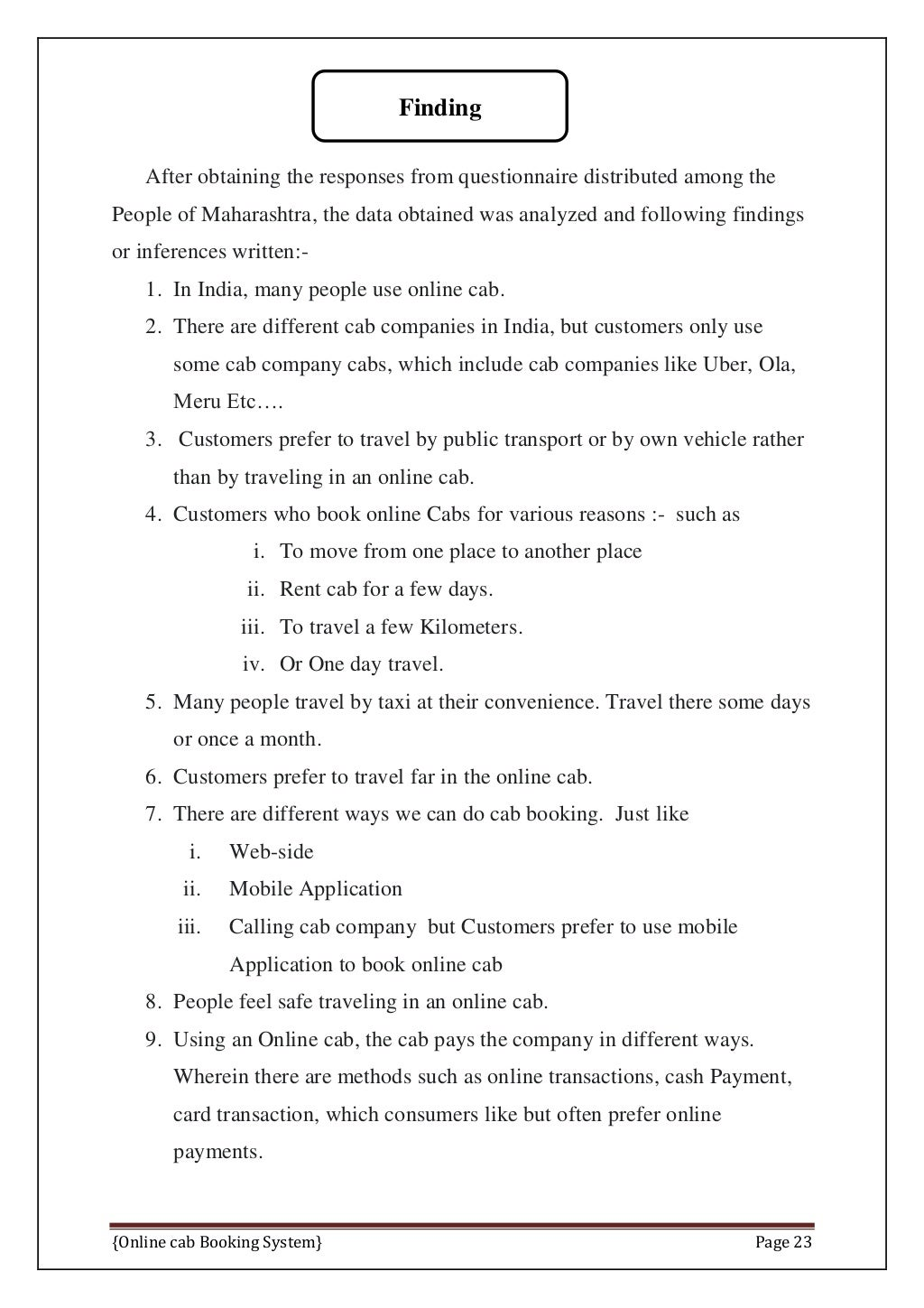 Online Cab Booking System Final Report page 30