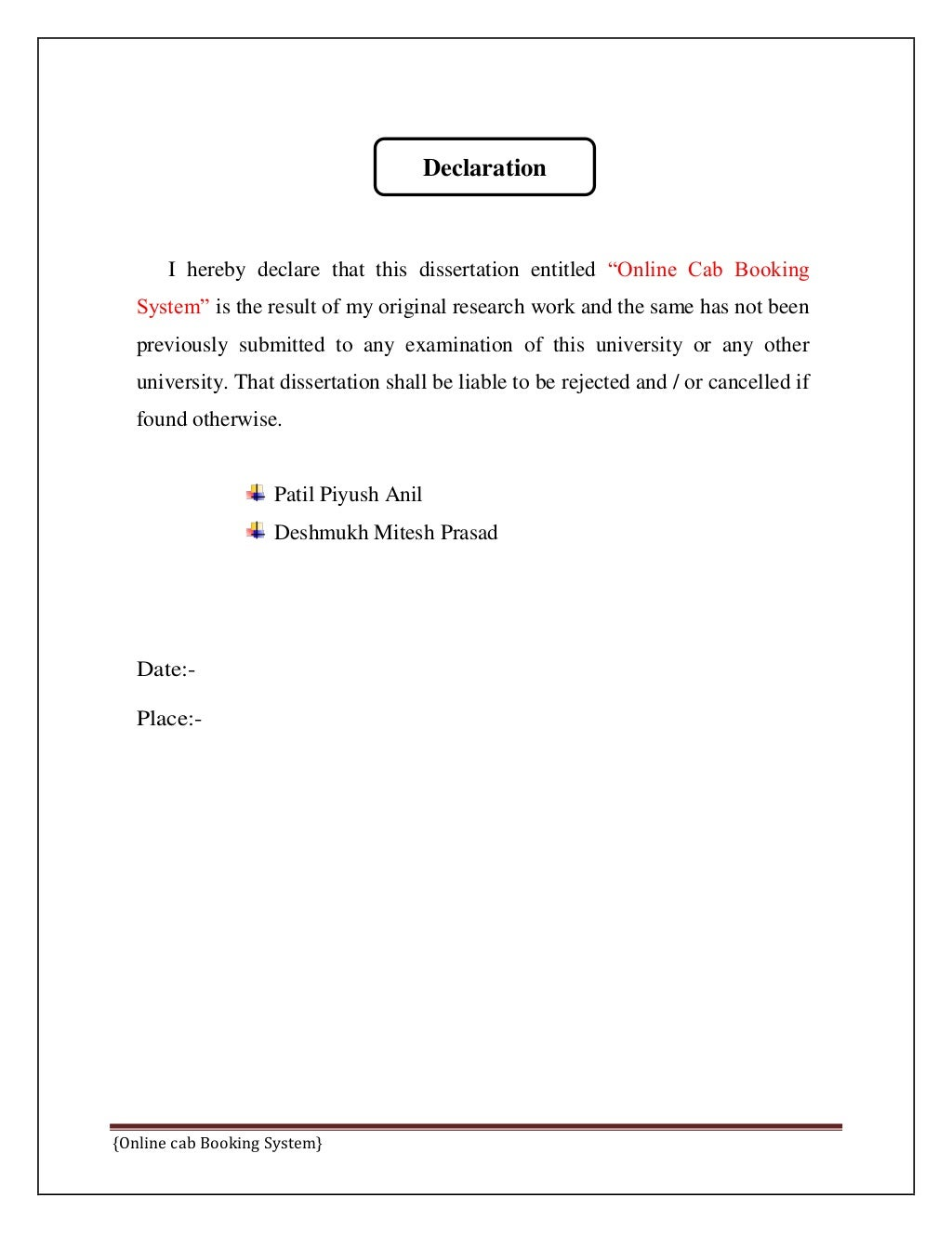 Online Cab Booking System Final Report page 4