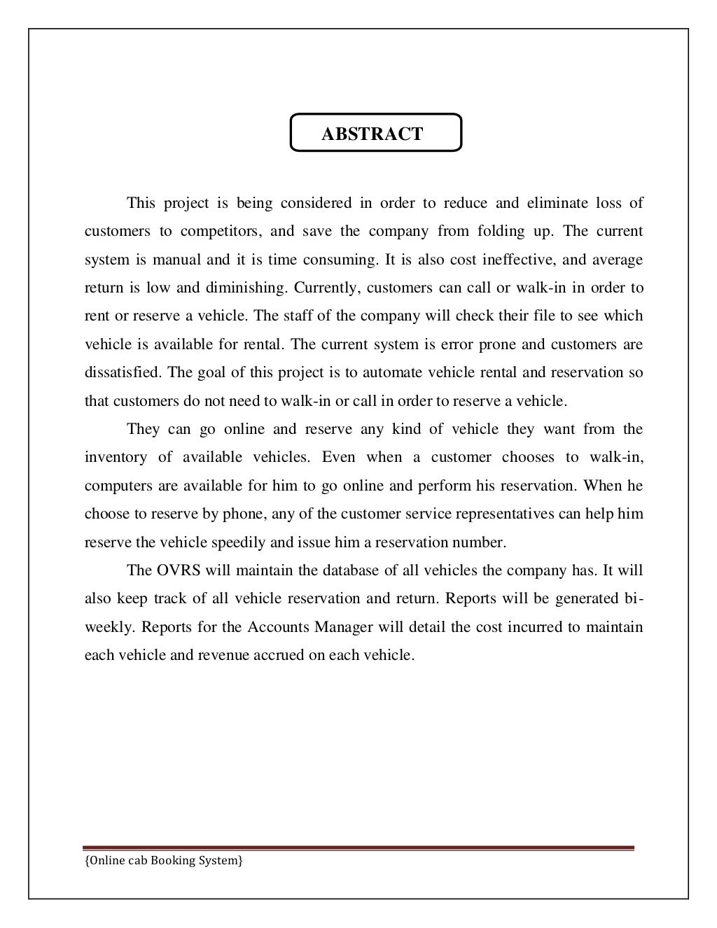 Online Cab Booking System Final Report page 5
