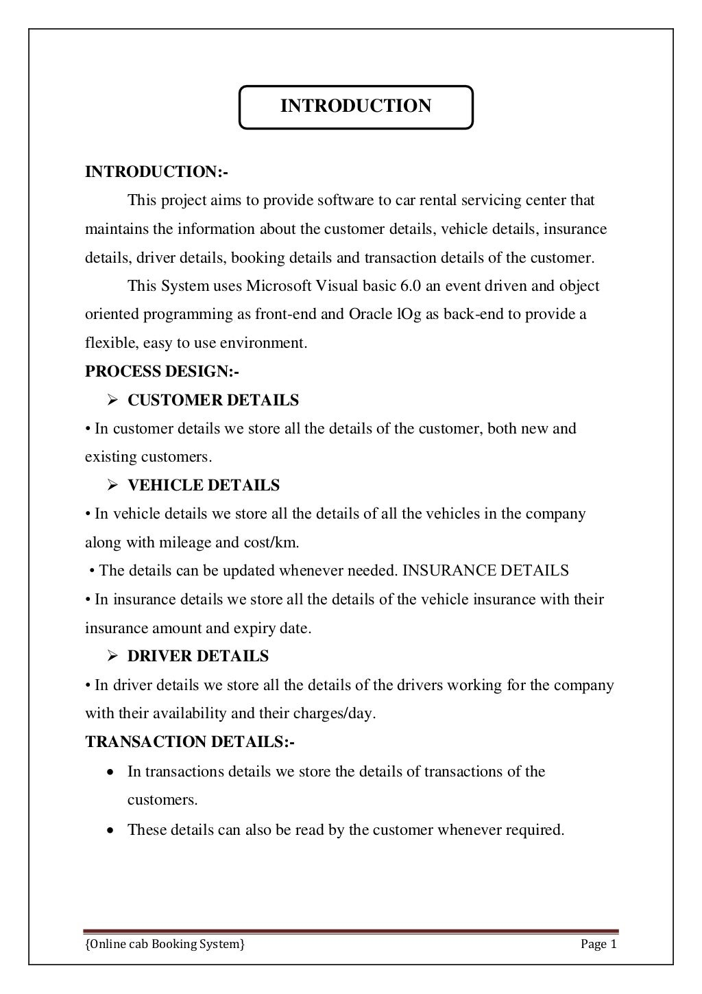 Online Cab Booking System Final Report page 8