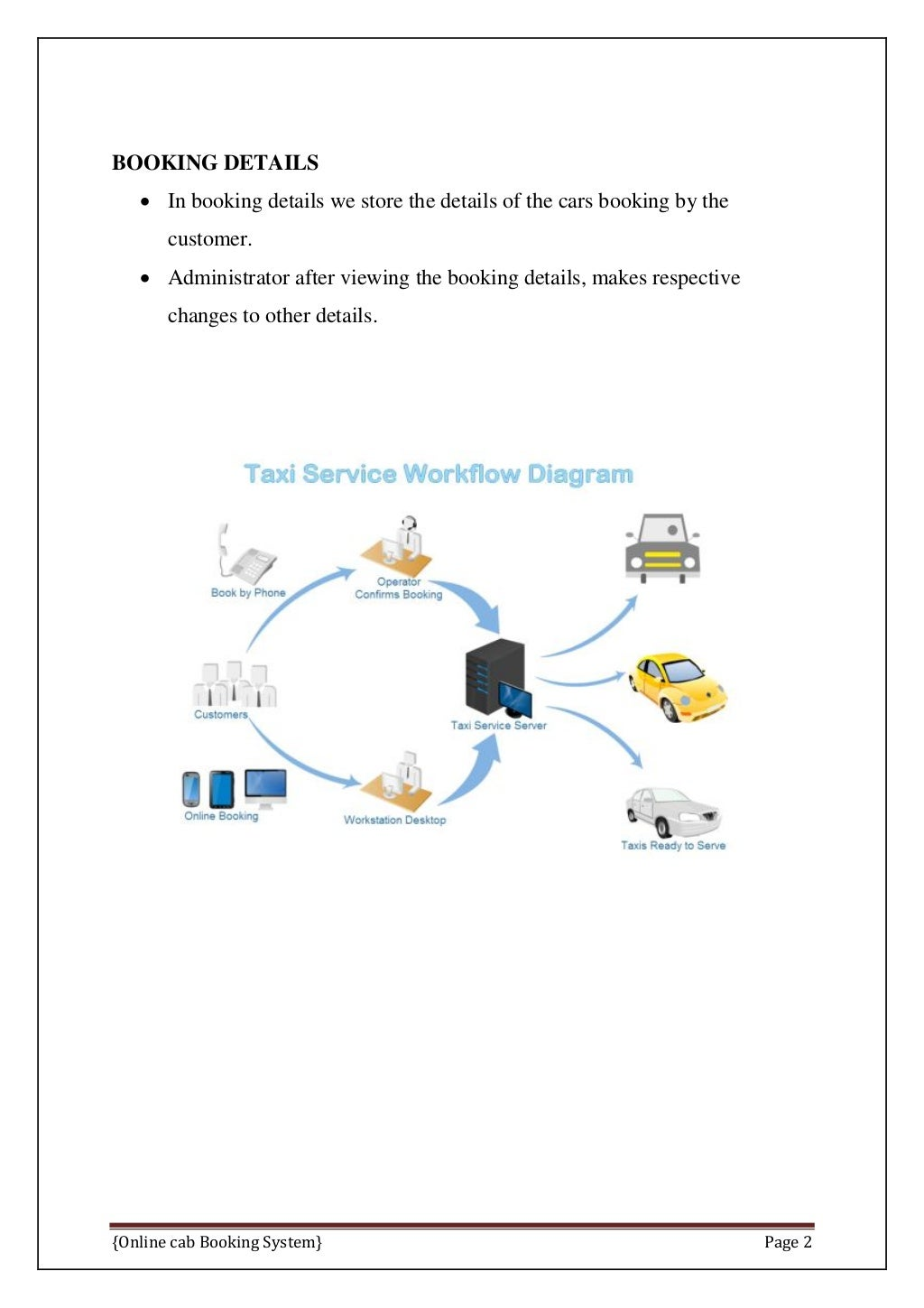 Online Cab Booking System Final Report page 9