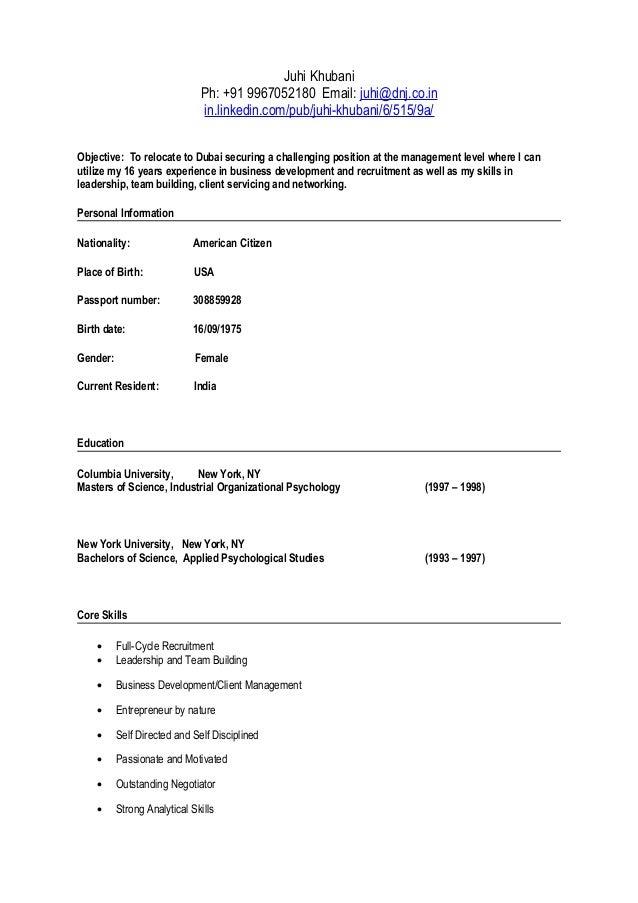 juhi khubani resume