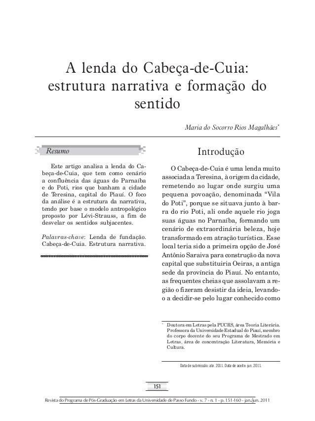 A lenda do Cabeça-de-Cuia:  estrutura narrativa e formação do  sentido  151  Maria do Socorro Rios Magalhães*  Introdução ...