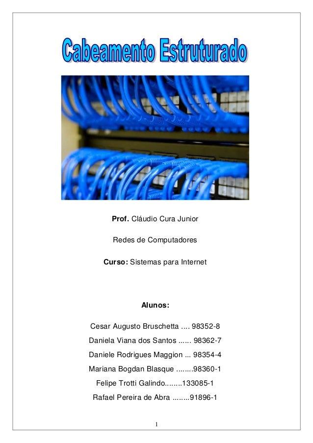 Prof. Cláudio Cura Junior       Redes de Computadores    Curso: Sistemas para Internet                Alunos:Cesar Augusto...