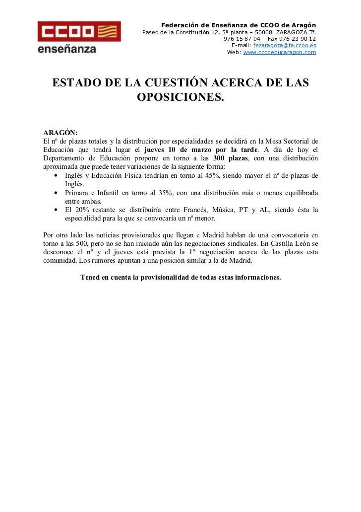Federación de Enseñanza de CCOO de Aragón                                  Paseo de la Constitución 12, 5ª planta – 50008 ...