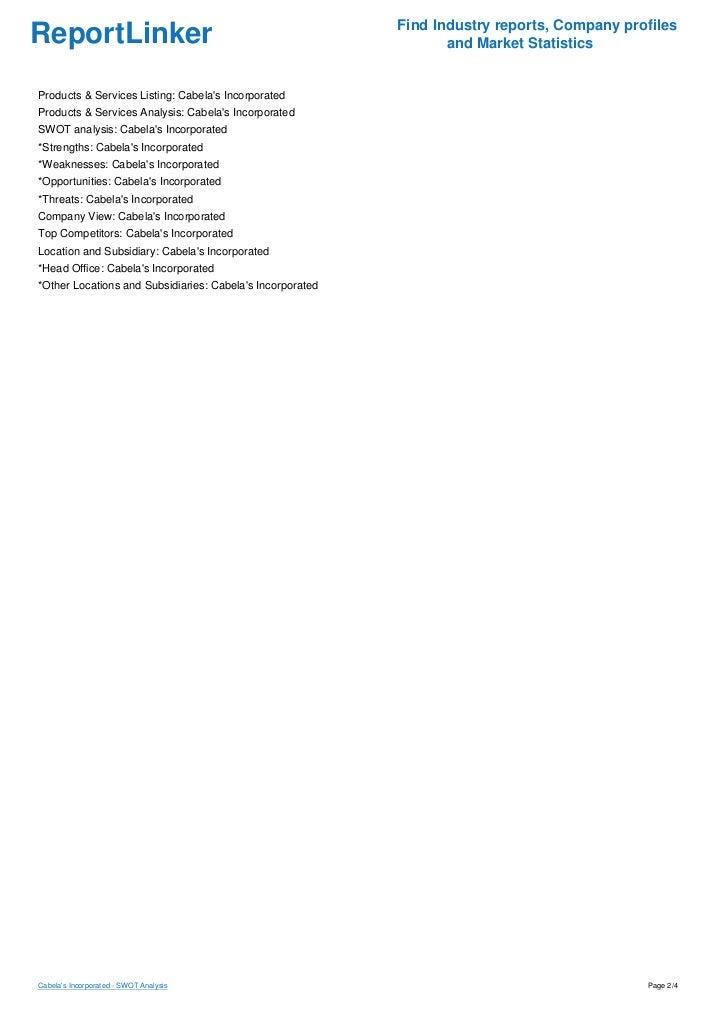 cabelas swott Buy custom essay, term paper & research paper on swot analysis $11  thor  industries swot analysis & matrix cabelas swot analysis & matrix advanced .