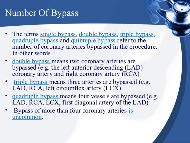 Number Of Bypass• The terms single bypass, double bypass, triple bypass,  quadruple bypass and quintuple bypass refer to t...