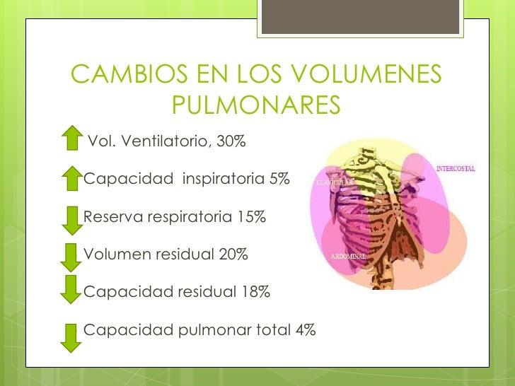 CAMBIOS EN LOS VOLUMENES PULMONARES<br /> Vol. Ventilatorio, 30%<br />Capacidad  inspiratoria 5%<br />Reserva respiratoria...