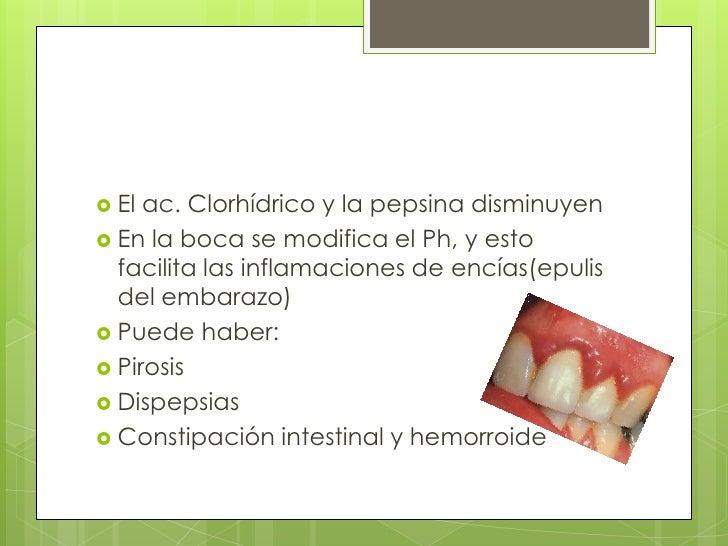 El ac. Clorhídrico y la pepsina disminuyen <br />En la boca se modifica el Ph, y esto facilita las inflamaciones de encías...