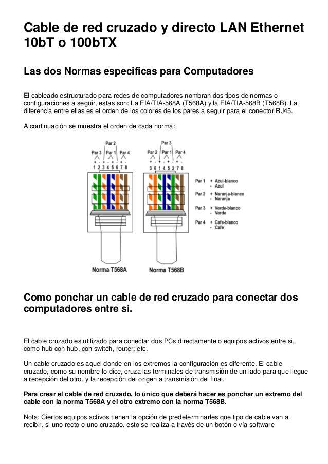 Cable de red cruzado y directo LAN Ethernet 10bT o 100bTX Las dos Normas especificas para Computadores El cableado estruct...