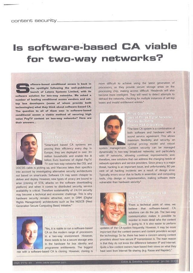 Is software-based CA viable for two-way networks ?