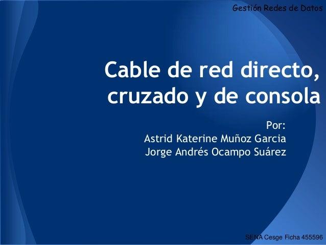 Gestión Redes de DatosCable de red directo,cruzado y de consola                           Por:   Astrid Katerine Muñoz Gar...