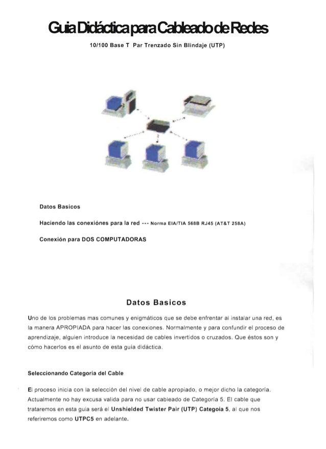 10/100 Base T Par Trenzado Sin Blindaje (UTP) . . Datos Basicos Haciendo las conexi6nes para la red --- Norma EIAITIA 5688...