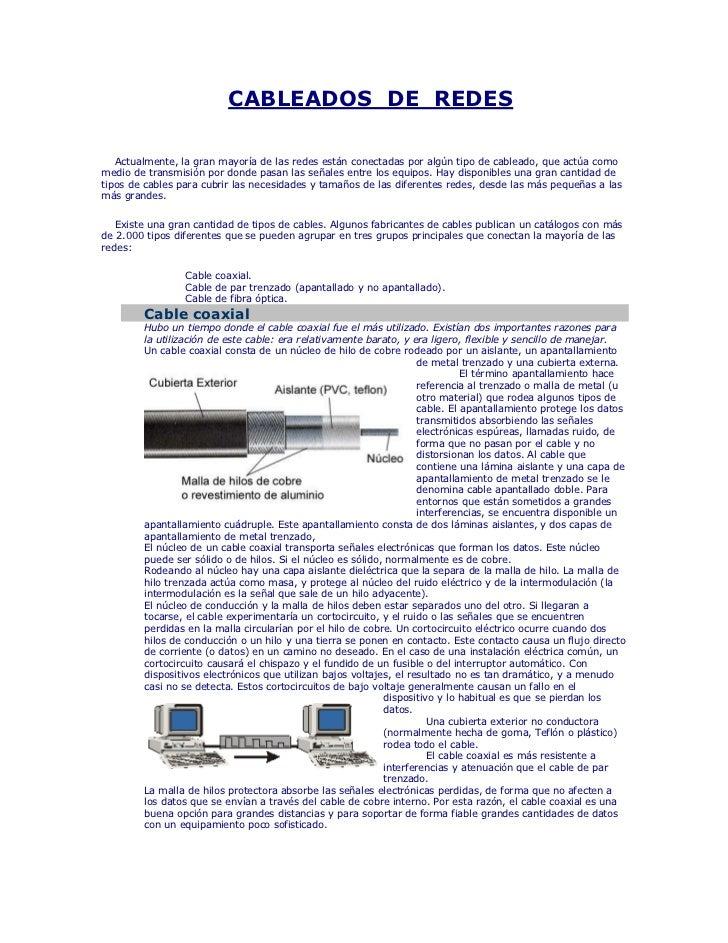 CABLEADOS DE REDES   Actualmente, la gran mayoría de las redes están conectadas por algún tipo de cableado, que actúa como...