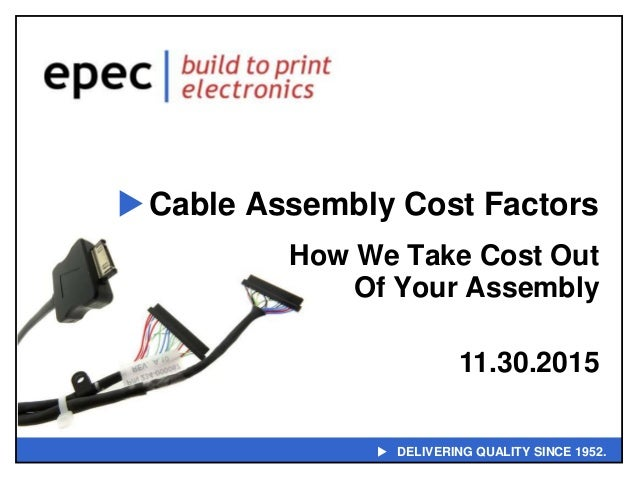  DELIVERING QUALITY SINCE 1952. Cable Assembly Cost Factors How We Take Cost Out Of Your Assembly 11.30.2015