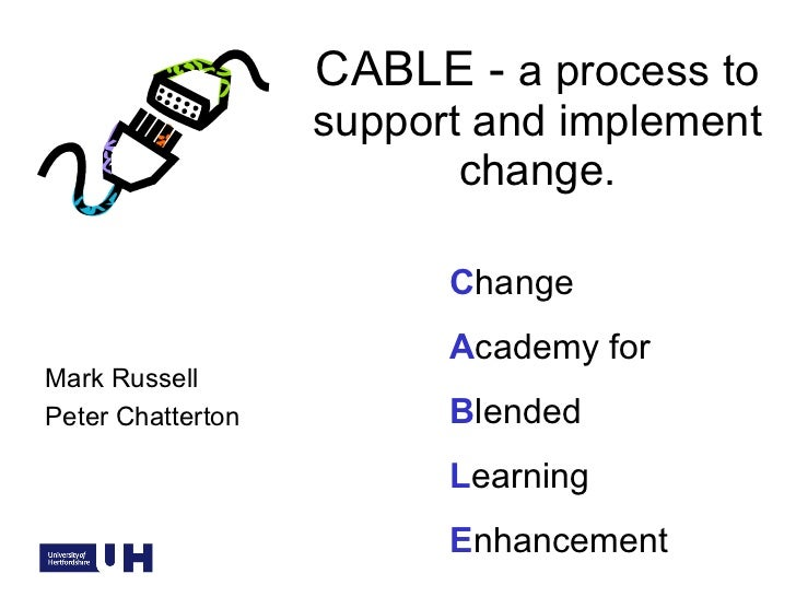 CABLE -  a process to support and implement change. C hange A cademy for B lended  L earning  E nhancement Mark Russell Pe...
