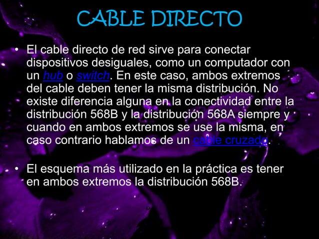 CABLE DIRECTO • El cable directo de red sirve para conectar dispositivos desiguales, como un computador con un hub o switc...