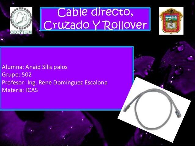 Cable directo, Cruzado Y Rollover Alumna: Anaid Silis palos Grupo: 502 Profesor: Ing. Rene Domínguez Escalona Materia: ICAS