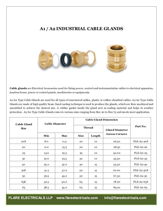 electrical cable gland sizes pdf