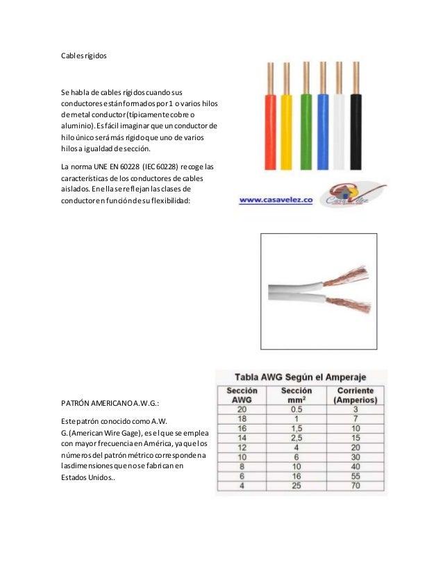 Cablesrígidos Se habla de cablesrígidoscuandosus conductoresestánformadospor1 o varioshilos de metal conductor(típicamente...