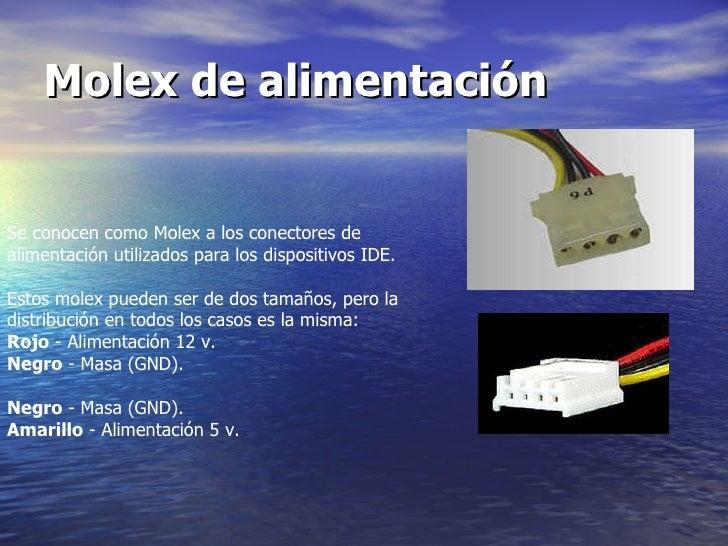 Molex de alimentación   Se conocen como Molex a los conectores de alimentación utilizados para los dispositivos IDE.  Esto...