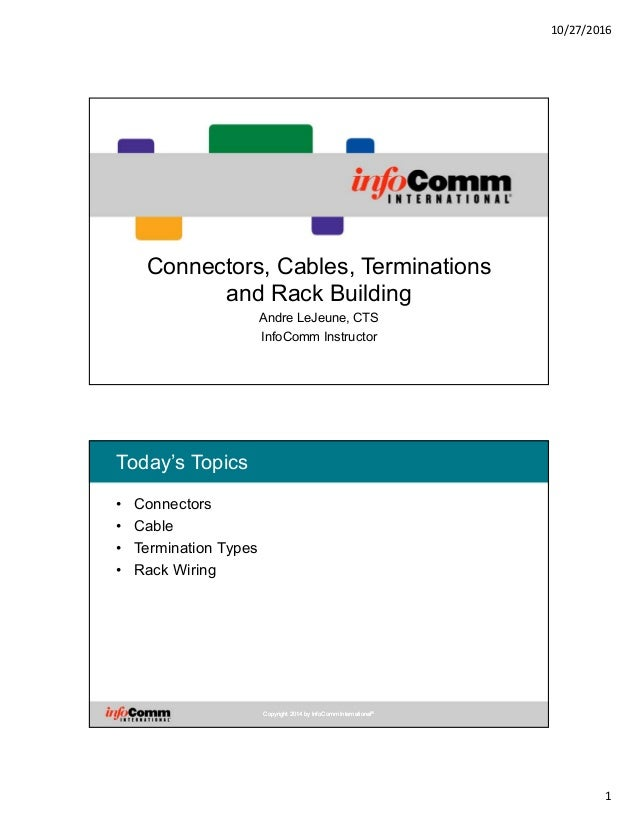 10/27/2016 1 Connectors, Cables, Terminations and Rack Building Andre LeJeune, CTS InfoComm Instructor Copyright 2014 by I...