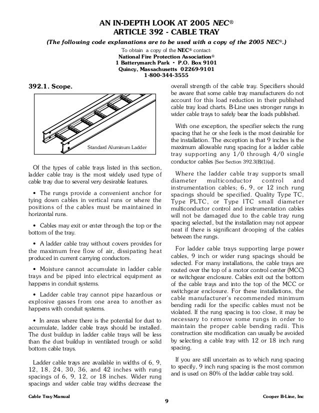 cooper b line cable tray manual