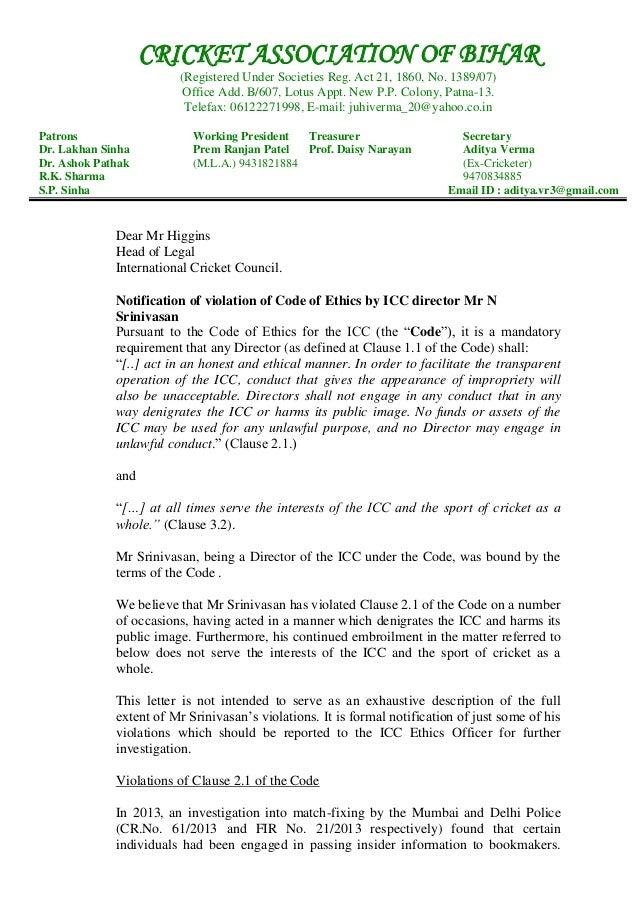 cab u0026 39 s letter to icc