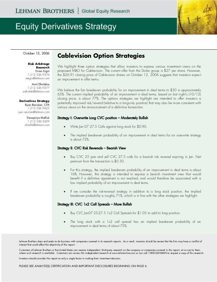 October 13, 2006                                    Cablevision Option Strategies        Risk Arbitrage              Resea...