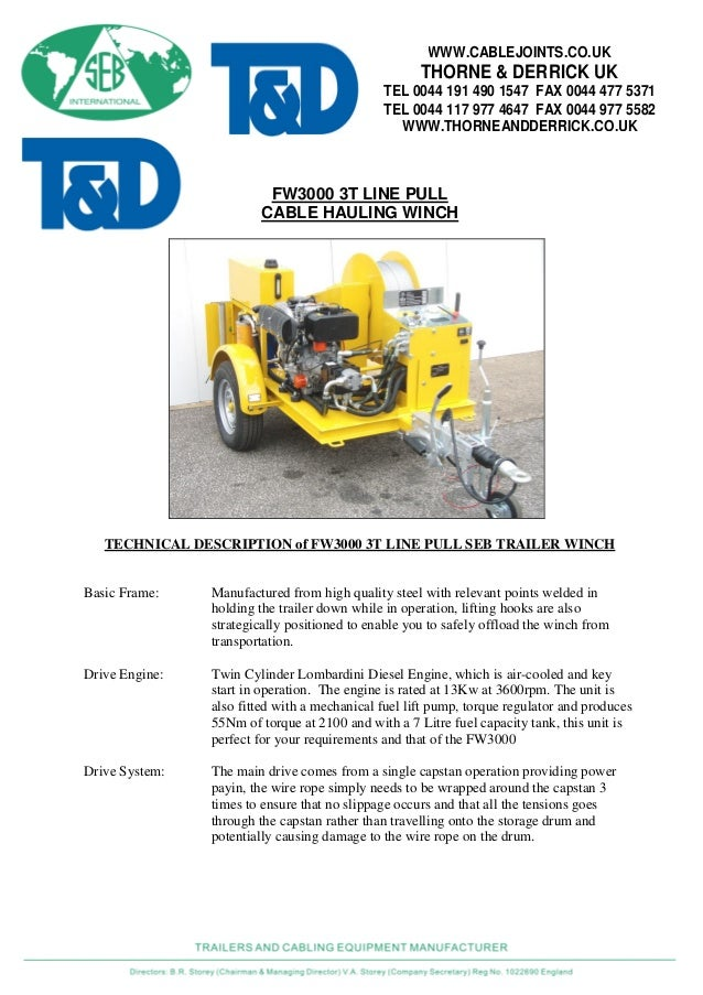 Cable Winch SEB FW3000 - Cable Hauling Winch 3 Tonne
