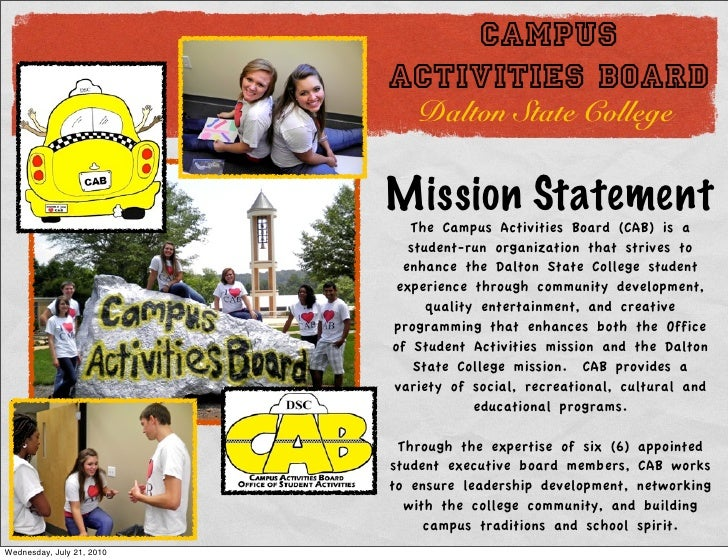 college activities board The campus activities board is comprised of eight different committees, each responsible for various types of events committees include: cinema, comedy.