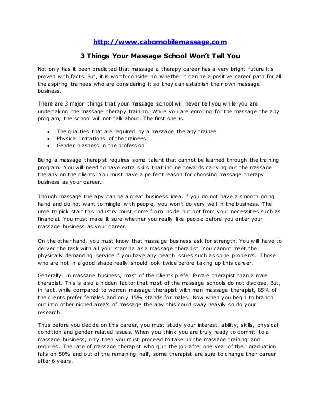 Cabo Mobile Spa: 3 Things Your Massage School Won\'t Tell You
