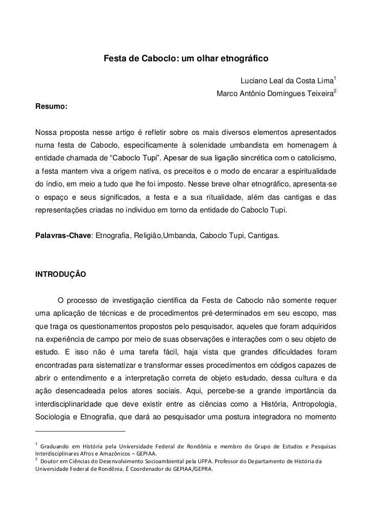 Festa de Caboclo: um olhar etnográfico                                                                        Luciano Leal...