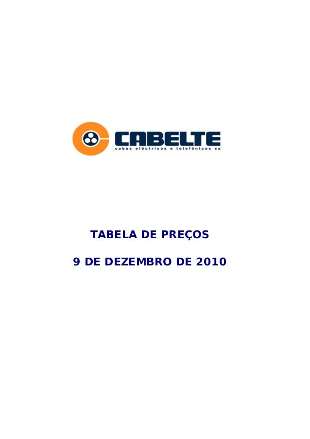 TABELA DE PREÇOS9 DE DEZEMBRO DE 2010