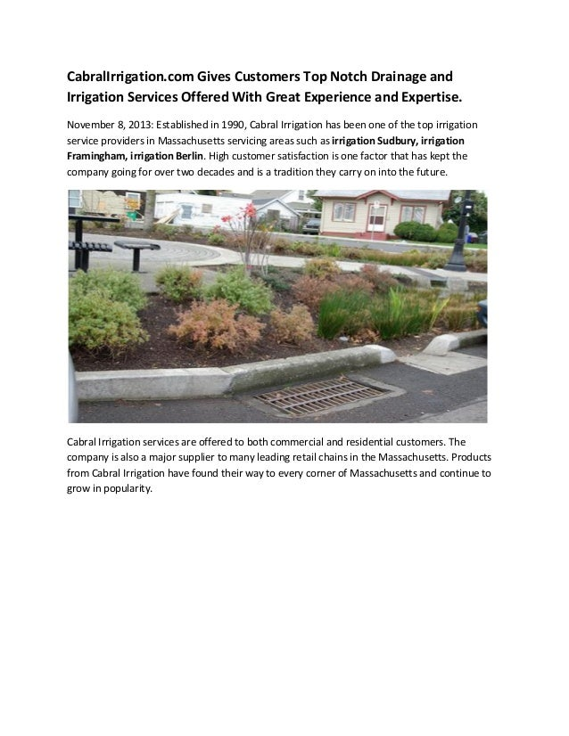 CabralIrrigation.com Gives Customers Top Notch Drainage and Irrigation Services Offered With Great Experience and Expertis...
