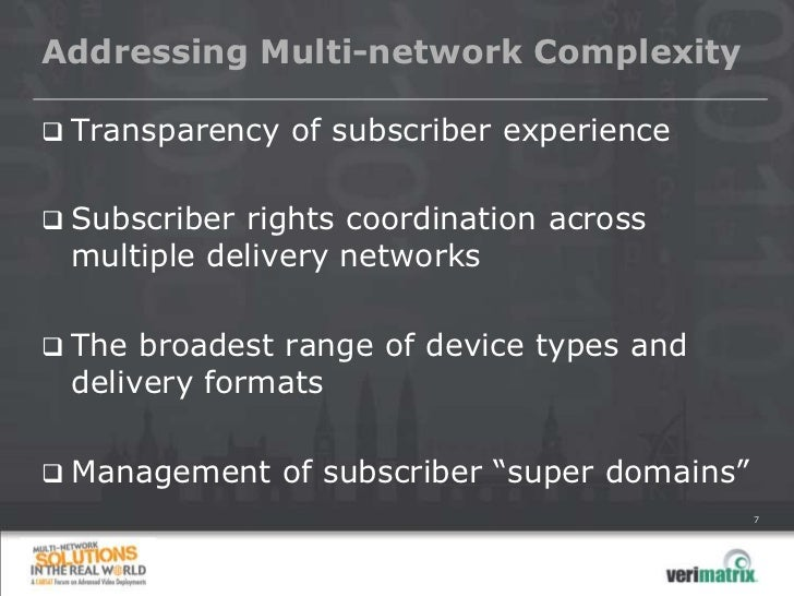 Addressing Multi-network Complexity   Transparency of subscriber experience   Subscriber rights coordination across    m...