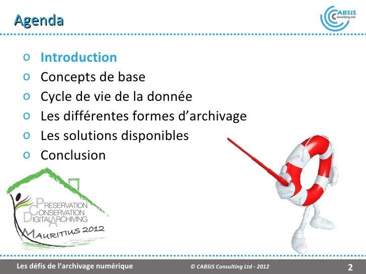 Les défis de l'archivage numérique (Fr) Slide 2