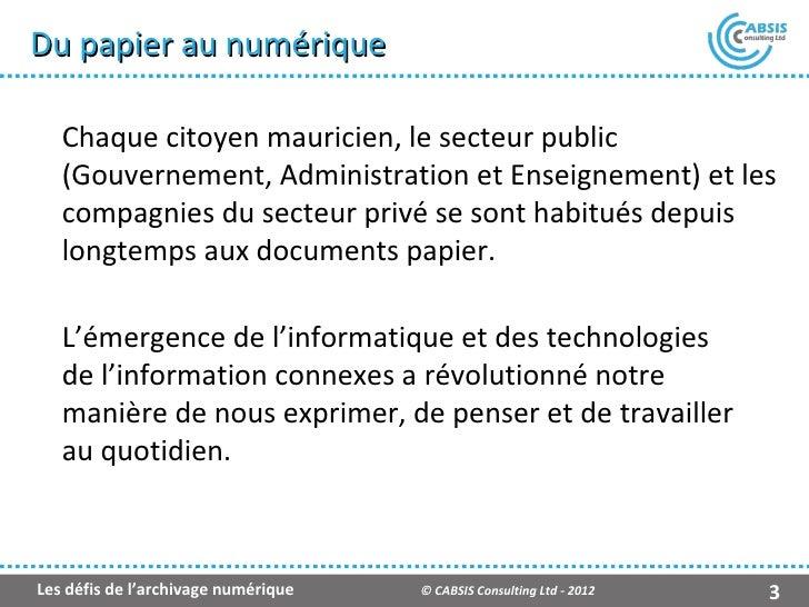 Les défis de l'archivage numérique (Fr) Slide 3