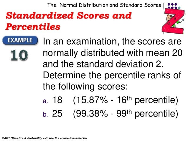 CABT SHS Statistics & Probability - The z-scores and ...