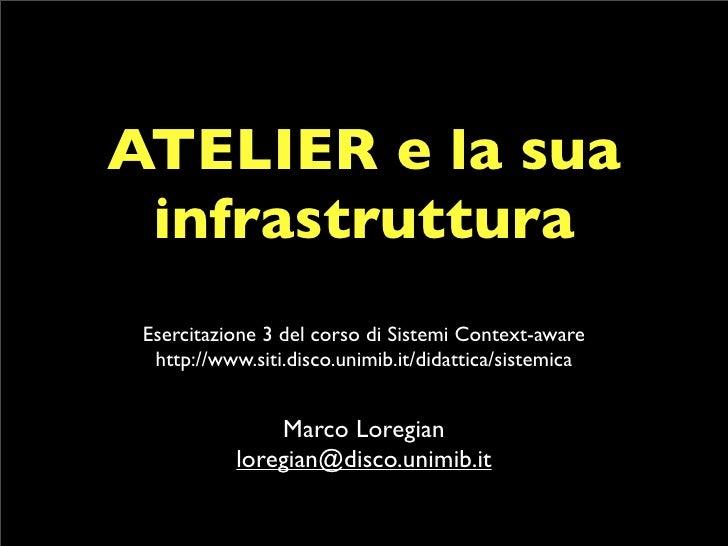 ATELIER e la sua  infrastruttura  Esercitazione 3 del corso di Sistemi Context-aware   http://www.siti.disco.unimib.it/did...