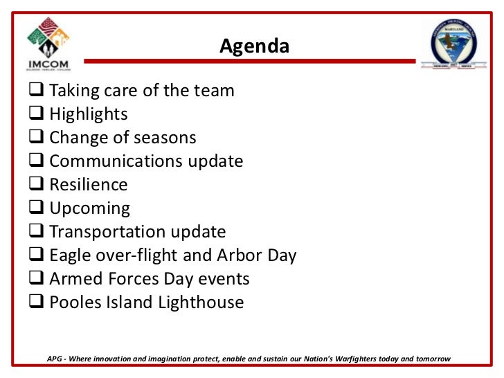 Agenda<br /><ul><li> Taking care of the team
