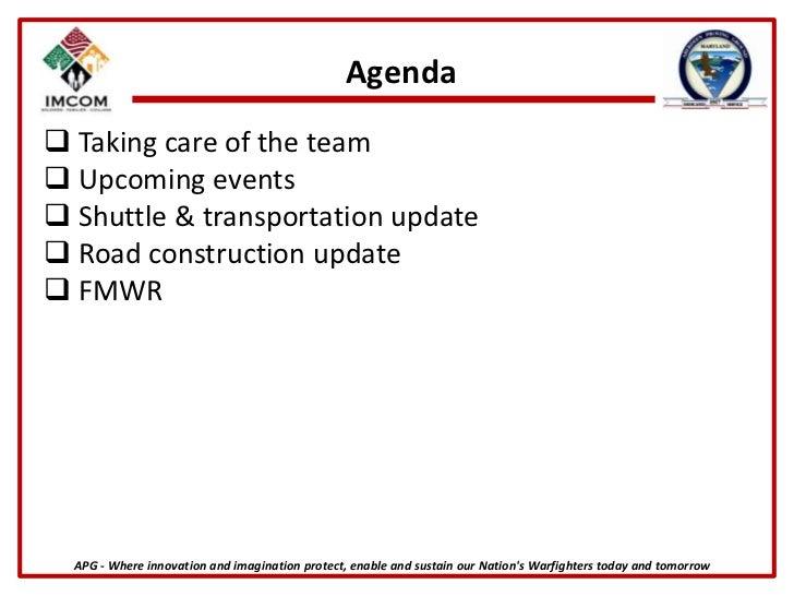 Agenda<br /><ul><li>Taking care of the team